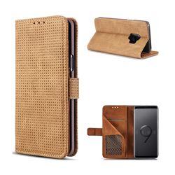 Luxury Vintage Mesh Monternet Leather Wallet Case for Samsung Galaxy S9 - Brown