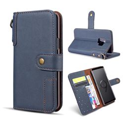 Retro Luxury Cowhide Leather Wallet Case for Samsung Galaxy S9 - Blue