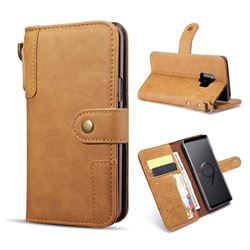 Retro Luxury Cowhide Leather Wallet Case for Samsung Galaxy S9 - Brown