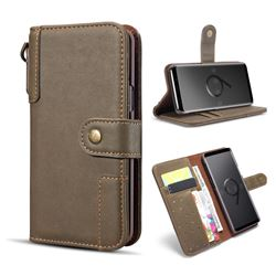 Retro Luxury Cowhide Leather Wallet Case for Samsung Galaxy S9 - Coffee