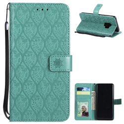 Intricate Embossing Rattan Flower Leather Wallet Case Green