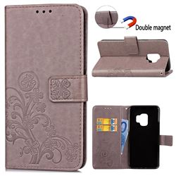 Embossing Imprint Four-Leaf Clover Leather Wallet Case for Samsung Galaxy S9 - Grey