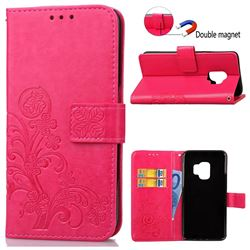 Embossing Imprint Four-Leaf Clover Leather Wallet Case for Samsung Galaxy S9 - Rose