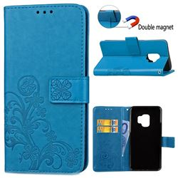 Embossing Imprint Four-Leaf Clover Leather Wallet Case for Samsung Galaxy S9 - Blue