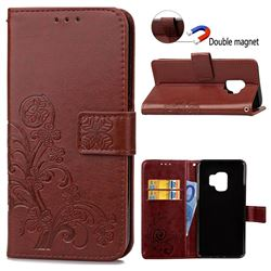 Embossing Imprint Four-Leaf Clover Leather Wallet Case for Samsung Galaxy S9 - Brown