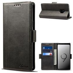 Suteni Calf Stripe Dual Color Leather Wallet Flip Case for Samsung Galaxy S9 - Black