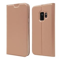 Ultra Slim Card Magnetic Automatic Suction Leather Wallet Case for Samsung Galaxy S9 - Rose Gold