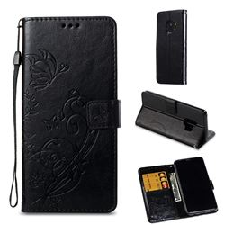 Embossing Butterfly Flower Leather Wallet Case for Samsung Galaxy S9 - Black