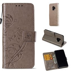 Embossing Butterfly Flower Leather Wallet Case for Samsung Galaxy S9 - Grey