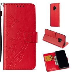 Embossing Butterfly Flower Leather Wallet Case for Samsung Galaxy S9 - Red