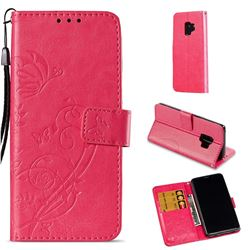 Embossing Butterfly Flower Leather Wallet Case for Samsung Galaxy S9 - Rose