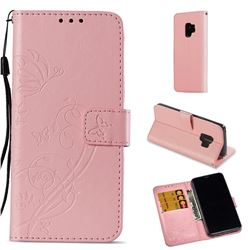 Embossing Butterfly Flower Leather Wallet Case for Samsung Galaxy S9 - Pink