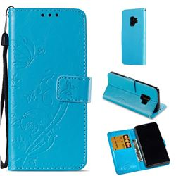Embossing Butterfly Flower Leather Wallet Case for Samsung Galaxy S9 - Blue