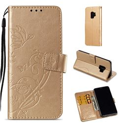 Embossing Butterfly Flower Leather Wallet Case for Samsung Galaxy S9 - Champagne