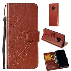 Embossing Butterfly Flower Leather Wallet Case for Samsung Galaxy S9 - Brown