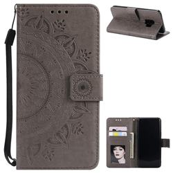 Intricate Embossing Datura Leather Wallet Case for Samsung Galaxy S9 - Gray