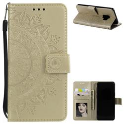 Intricate Embossing Datura Leather Wallet Case for Samsung Galaxy S9 - Golden