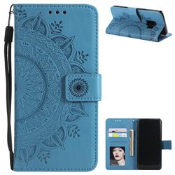 Intricate Embossing Datura Leather Wallet Case for Samsung Galaxy S9 - Blue