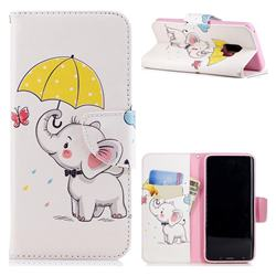 Umbrella Elephant Leather Wallet Case
