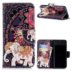 Totem Flower Elephant Leather Wallet Case