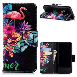 Flowers Flamingos Leather Wallet Case