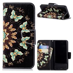 Circle Butterflies Leather Wallet Case