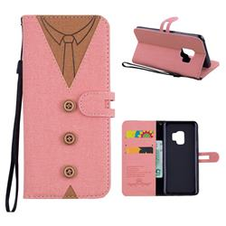 Mens Button Clothing Style Leather Wallet Phone Case for Samsung Galaxy S9 - Pink