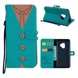 Mens Button Clothing Style Leather Wallet Phone Case for Samsung Galaxy S9 - Green