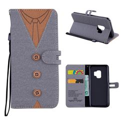 Mens Button Clothing Style Leather Wallet Phone Case for Samsung Galaxy S9 - Gray