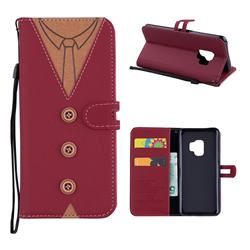 Mens Button Clothing Style Leather Wallet Phone Case for Samsung Galaxy S9 - Red