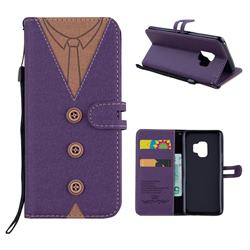 Mens Button Clothing Style Leather Wallet Phone Case for Samsung Galaxy S9 - Purple
