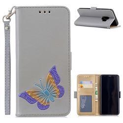 Imprint Embossing Butterfly Leather Wallet Case for Samsung Galaxy S9 - Grey