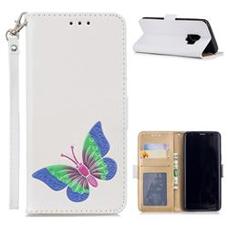 Imprint Embossing Butterfly Leather Wallet Case for Samsung Galaxy S9 - White