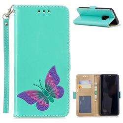Imprint Embossing Butterfly Leather Wallet Case for Samsung Galaxy S9 - Mint Green