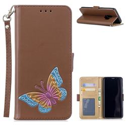 Imprint Embossing Butterfly Leather Wallet Case for Samsung Galaxy S9 - Brown