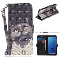 Cat Embrace 3D Painted Leather Wallet Phone Case for Samsung Galaxy S9