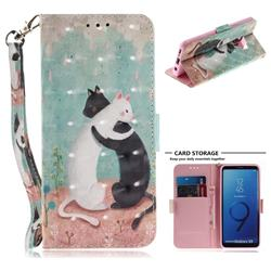 Black and White Cat 3D Painted Leather Wallet Phone Case for Samsung Galaxy S9