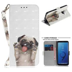 Pug Dog 3D Painted Leather Wallet Phone Case for Samsung Galaxy S9