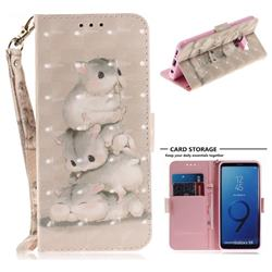 Three Squirrels 3D Painted Leather Wallet Phone Case for Samsung Galaxy S9