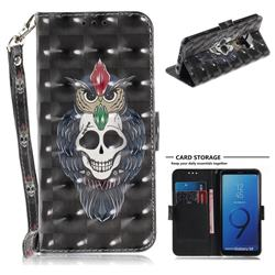 Skull Cat 3D Painted Leather Wallet Phone Case for Samsung Galaxy S9