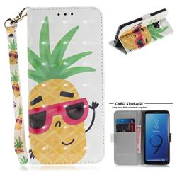 Pineapple Glasses 3D Painted Leather Wallet Phone Case for Samsung Galaxy S9