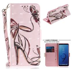 Butterfly High Heels 3D Painted Leather Wallet Phone Case for Samsung Galaxy S9
