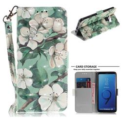 Watercolor Flower 3D Painted Leather Wallet Phone Case for Samsung Galaxy S9