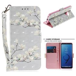 Magnolia Flower 3D Painted Leather Wallet Phone Case for Samsung Galaxy S9
