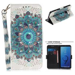 Peacock Mandala 3D Painted Leather Wallet Phone Case for Samsung Galaxy S9