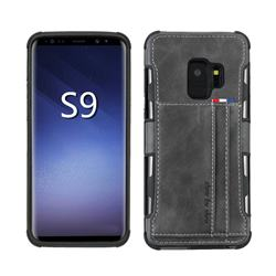 Luxury Shatter-resistant Leather Coated Card Phone Case for Samsung Galaxy S9 - Gray