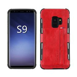 Luxury Shatter-resistant Leather Coated Card Phone Case for Samsung Galaxy S9 - Red