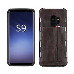 Luxury Shatter-resistant Leather Coated Card Phone Case for Samsung Galaxy S9 - Coffee