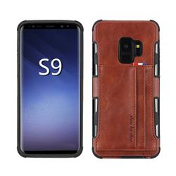 Luxury Shatter-resistant Leather Coated Card Phone Case for Samsung Galaxy S9 - Brown