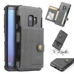 Brush Multi-function Leather Phone Case for Samsung Galaxy S9 - Gray